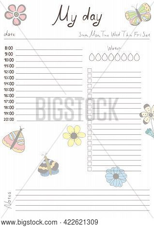 Printable A4 Paper Sheet With Day Planner Blank To Fill On Background With Hand Drawn Flowers. Minim