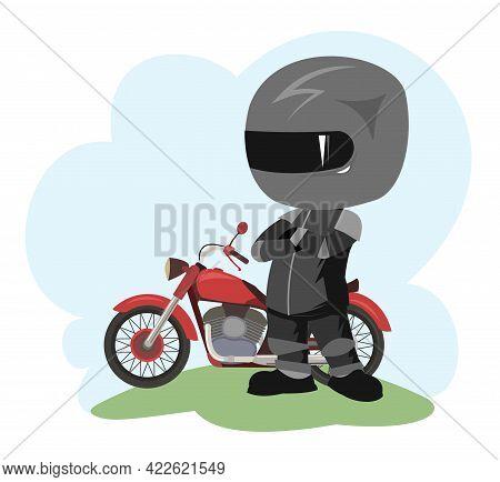 Biker Cartoon. Child Illustration. To Stand. Sports Uniform And Helmet. Cool Motorcycle. Chopper Bik