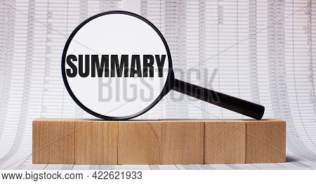 Against The Background Of Reports On Wooden Cubes - A Magnifying Glass With The Text Summary. Busine