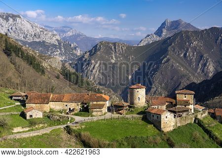 View Of The Mediaval Village Of Bandujo In Asturias Mountains. North Of Spain.