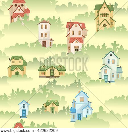 A Town In The Fog. Seamless Illustration With Cartoon Village Or City Houses. Day. Nice Cozy Private