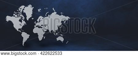 World Map Isolated On Black Wall Background. 3d Illustration. Horizontal Banner