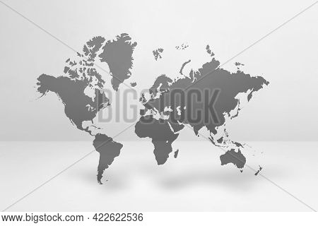 World Map Isolated On White Wall Background. 3d Illustration