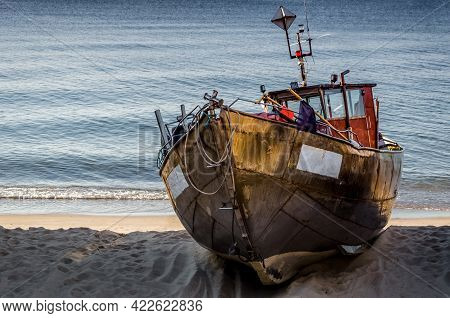 Fishing Boat - Ship On The Shoreline Harbor