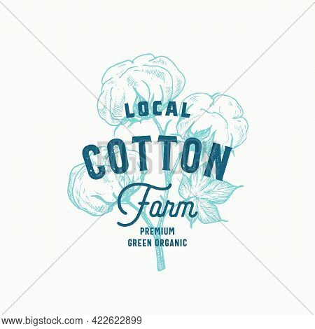 Local Cotton Farm Abstract Vector Sign, Symbol Or Logo Template. Hand Drawn Plant Branch With Premiu