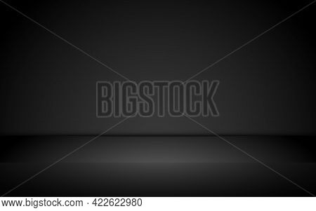 Black Studio Background. Dark Wall Backdrop. Elegant Room Template For Displaying Product. Business