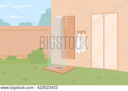 Showering Outdoors Flat Color Vector Illustration. Garden Shower Enclosure. Backyard Decorating. Enj
