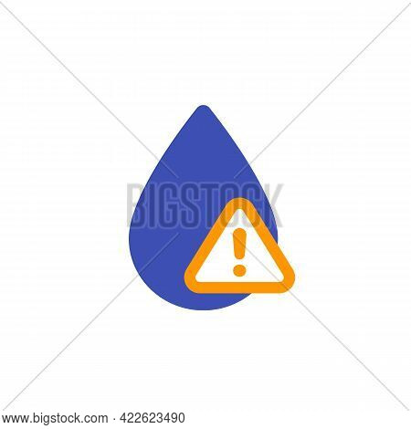 Water Contamination Alert Vector Icon On White