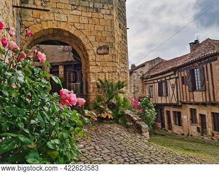 Street Of The Medieval Village Of Cordes-sur-ciel, South Of France.