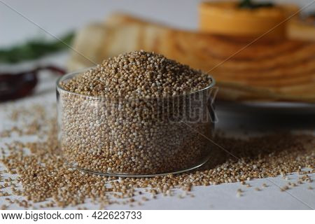 Kodo Millet Is An Annual Grain Used For Cooking In Many Parts Of The World. Shot With Pancakes In Th