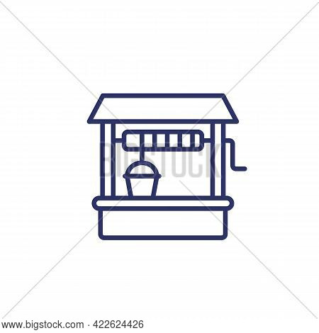 Water Well Line Icon On White, Vector