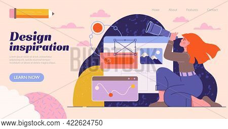 Woman Designer Looking For Inspiration. Creative Educational Banner, Poster, Landing Page, Ad For We