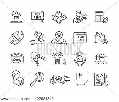 Set Of Real Estate Outline Icons. Realty, Home Loan, Property, Mortgage, Keys, Garage, Deal, Agreeme
