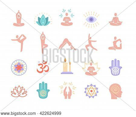 Yoga, Meditation Practice Colorful Vector Icons. Relaxation, Asana Practice, Poses, Self-knowledge,