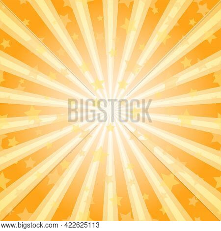 Sunlight Abstract Background. Orange Burst Background With Highlight And Shining Stars. Vector Illus