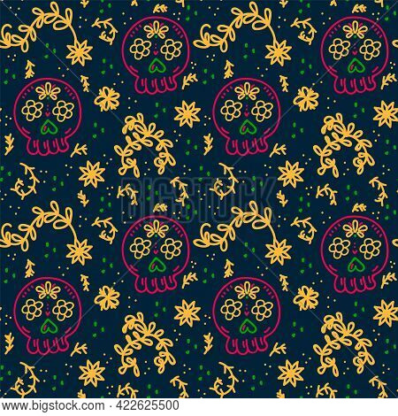 Day Of The Dead Beautiful Background. A Pattern With A Skull On A Dark Background For Textiles. Vect