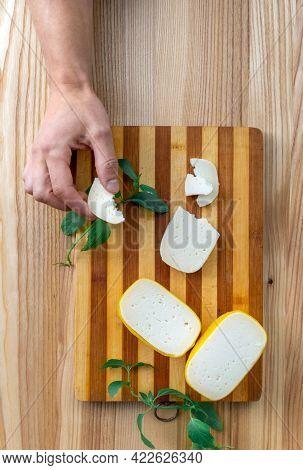 Cheese Edam Piece Slice Old Hand Dutch Holland Goat Top View