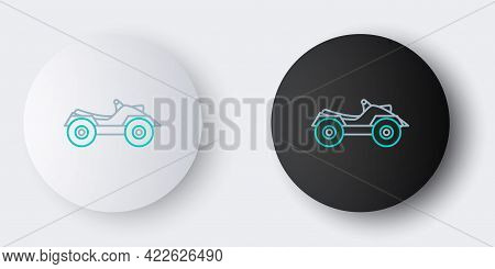 Line All Terrain Vehicle Or Atv Motorcycle Icon Isolated On Grey Background. Quad Bike. Extreme Spor