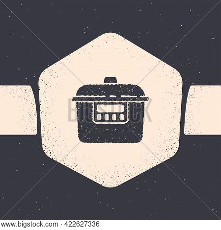 Grunge Slow Cooker Icon Isolated On Grey Background. Electric Pan. Monochrome Vintage Drawing. Vecto