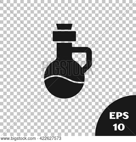 Black Essential Oil Bottle Icon Isolated On Transparent Background. Organic Aromatherapy Essence. Sk