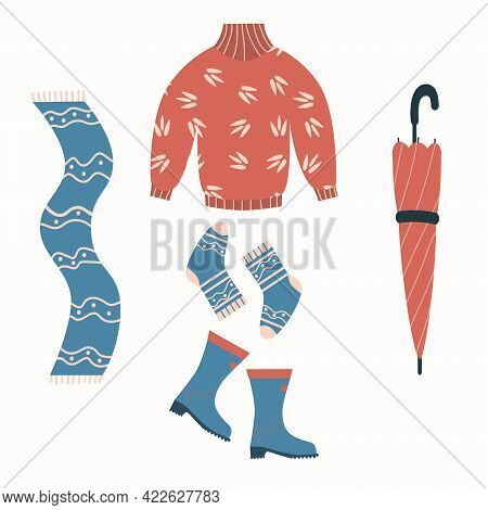 Autumn Clothes Set With Rubber Boots, Umbrella, Socks, Sweater And Scarf. Cozy Vector Elements. Flat