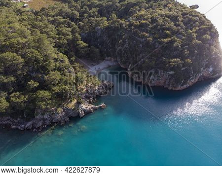 Aerial View On A Beautiful Turquoise Water Lagoon Called Pirate Bay At Location Karaoz, Kumluca, Ant