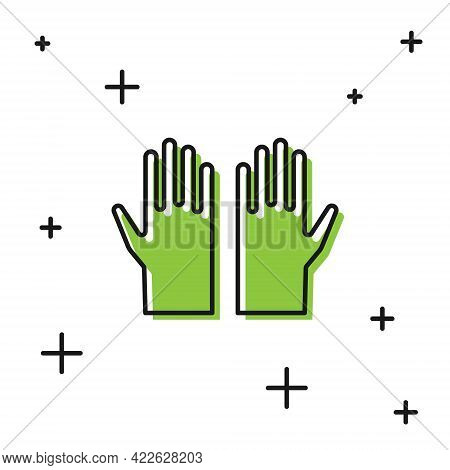 Black Medical Rubber Gloves Icon Isolated On White Background. Protective Rubber Gloves. Vector