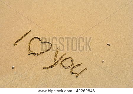 Concept or conceptual hand made or handwritten I love you text in sand on a beach in an exotic island