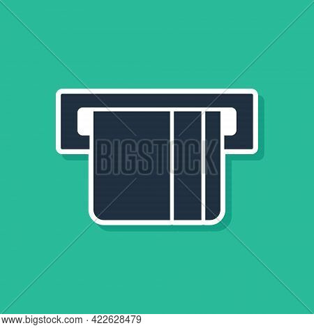Blue Credit Card Inserted In Card Reader Icon Isolated On Green Background. Atm Cash Machine. Vector