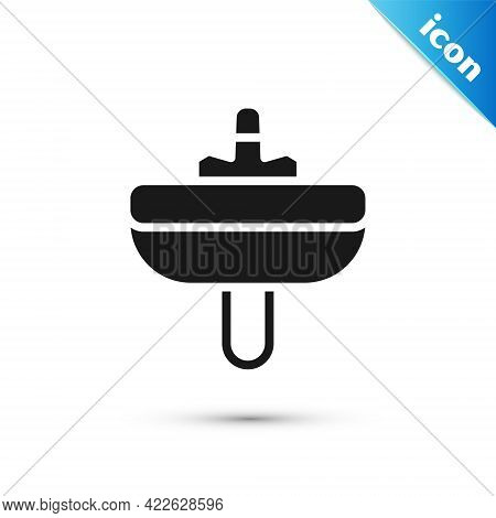 Grey Washbasin With Water Tap Icon Isolated On White Background. Vector