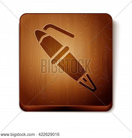 Brown Fountain Pen Nib Icon Isolated On White Background. Pen Tool Sign. Wooden Square Button. Vecto