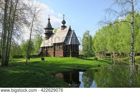 Wooden Russian Ancient Church Made Of Wood
