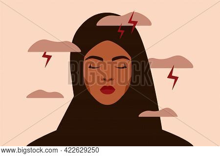 Sad Arabian Woman Feels Anxiety And Emotional Stress. Depressed Muslim Girl Experiences Mental Healt