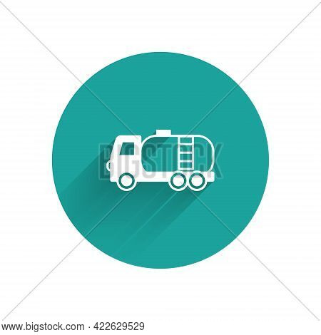 White Tanker Truck Icon Isolated With Long Shadow Background. Petroleum Tanker, Petrol Truck, Cister