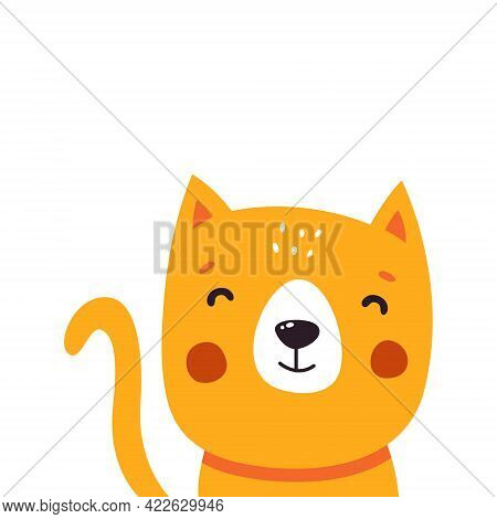 Cute Cat Cartoon. Vector Illustration Isolated On White Background