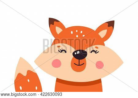 Cute Cartoon Foxes On A White Isolated Background. Vector Illustration