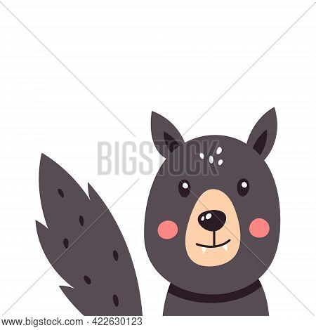 Funny Wolf On A White Isolated Background. Vector Illustration