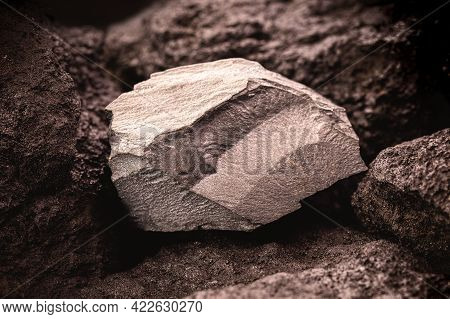 Metal Stone In Mine, Hematite And Magnetic Stone, Mining Concept