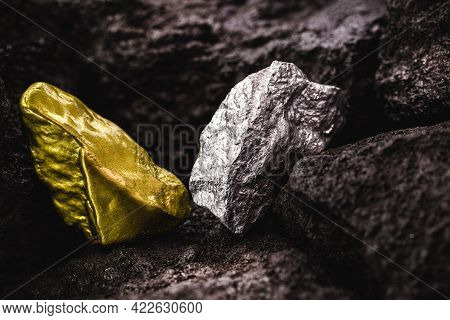 Silver Nugget And Gold Stone In Mine, Concept Of Rare Stone Mining Or Mineral Extraction
