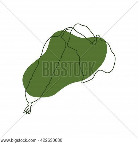 Hand Drawn Cucumber With Leaf One Solid Line On Abstract Green Spot On White Background
