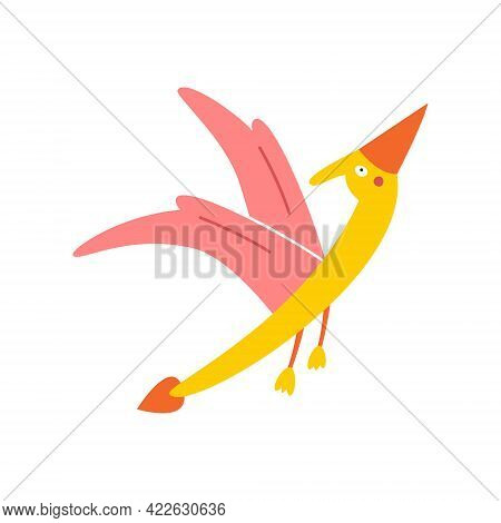 Cute Cartoon Pterodactyl On A White Background, Vector Illustration