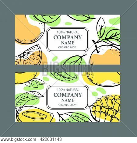 Multi-fruit Labels With Mango And Orange Design Of Stickers For Shop Of Organic Natural Fruits And D