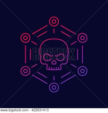 Malware, Cyber Attack Or Virus Line Vector Icon