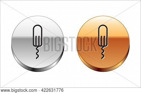 Black Line Menstruation And Sanitary Tampon Icon Isolated On White Background. Feminine Hygiene Prod