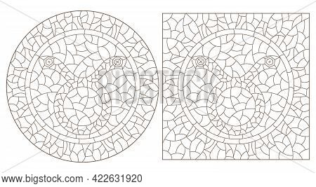 Set Of Contour Illustrations In The Style Of Stained Glass With The Signs Of The Zodiac Taurus, Dark