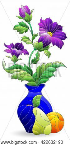 Illustration In The Style Of A Stained Glass Window With A Floral Still Life, A Vase Of Flowers Isol
