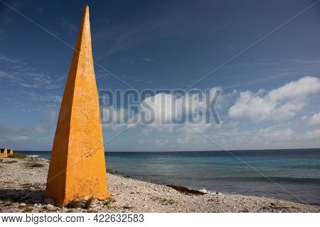 Obelisk On The Caribbean Island Of Bonaire Used In The 1800's To Signal Ships Where To Anchor To Pic