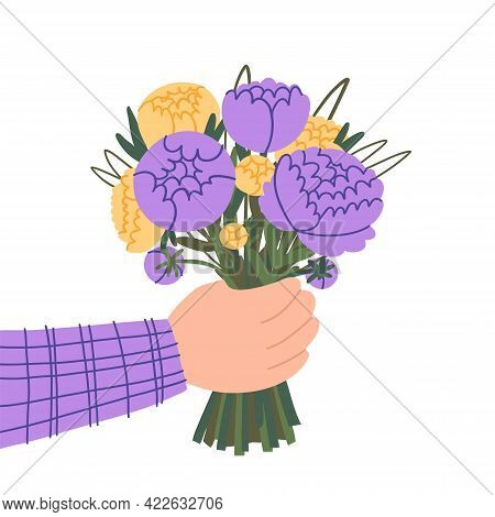 Doodle Hand Holding A Bouquet Of Delicate Peonies Isolated On White Background. Cut Peonies. A Beaut