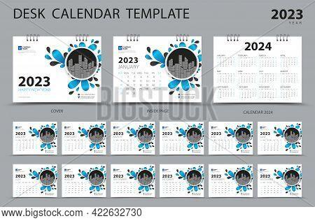 Desk Calendar 2023 Set Template And Calendar 2024 Layout, Set Of 12 Months, Planner, Week Starts On