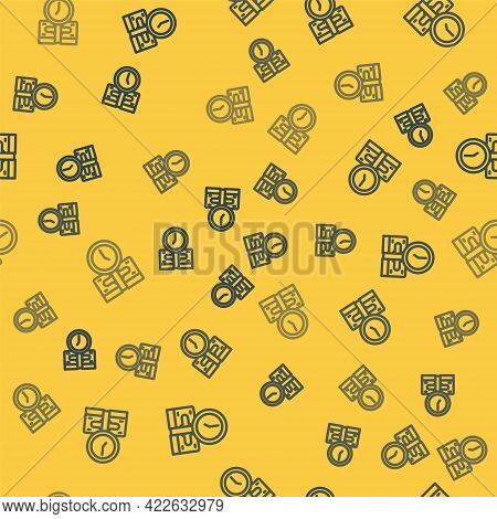 Blue Line Time Is Money Icon Isolated Seamless Pattern On Yellow Background. Money Is Time. Effectiv